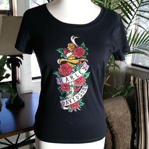 Harley-Davidson Floral Graphic Bling T-Shirt 👕
